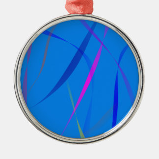 Morning Wind Cerulean Blue Round Metal Christmas Ornament