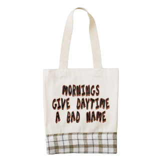 Mornings give daytime a bad name zazzle HEART tote bag