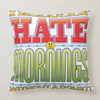 Mornings Hate Face Throw Pillow