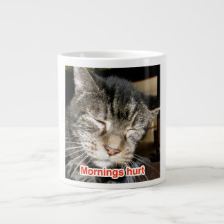 "Mornings Hurt with ""Captain"" the FIV+ Cat Extra Large Mug"