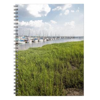 Morningstar Sailboat Marina Georgia USA Grasslands Spiral Notebook