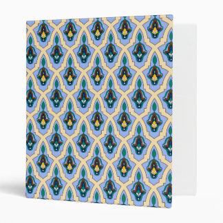 Moroccan arabic tracery pattern in blue and yellow binder