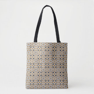 Moroccan Beige and Black Pattern Reusable Tote Bag