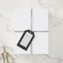 Moroccan Black White Quatrefoil Pattern Gift Tags