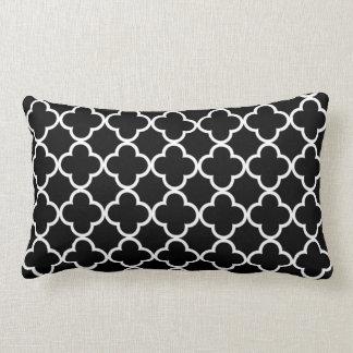 Moroccan Black White Quatrefoil Pattern Pillows