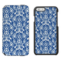 Moroccan Blue and White Casbah Damask iPhone 6/6s Wallet Case