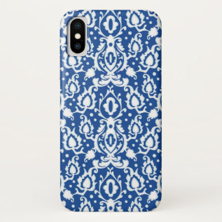 Moroccan Blue and White Casbah Damask iPhone X Case