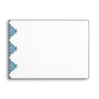 Moroccan Blue Damask Wedding Envelope