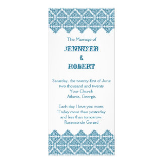 Moroccan Blue Damask Wedding Program