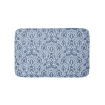 Moroccan Blue Gray Casbah Damask Bath Mat