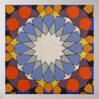 Moroccan blue orange poster