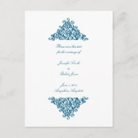Moroccan Blue Save the Date Postcard