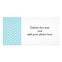 Moroccan Blue White Quatrefoil Pattern Card