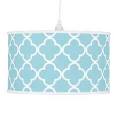 Moroccan Blue White Quatrefoil Pattern Pendant Lamps