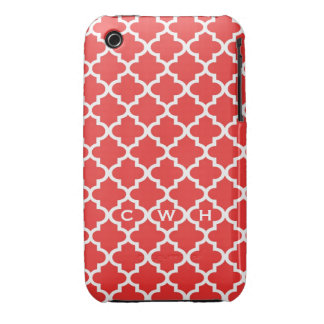 Moroccan brick red tile design 3 monogram iPhone 3 covers
