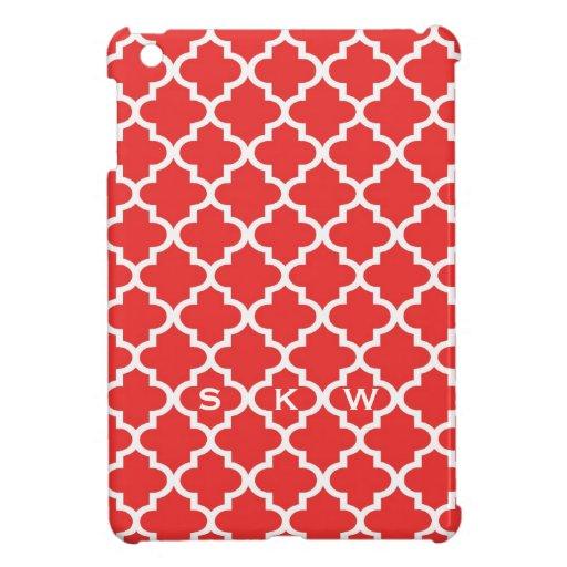 Moroccan brick red tile design 3 monogram iPad mini cases