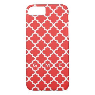 Moroccan brick red tile design 3 monogram iPhone 8/7 case