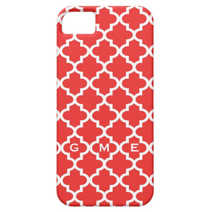 Moroccan brick red tile design 3 monogram iPhone SE/5/5s case