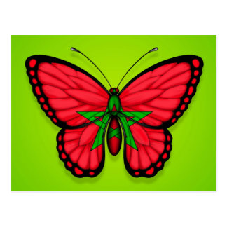 Moroccan Butterfly Flag on Green Postcard