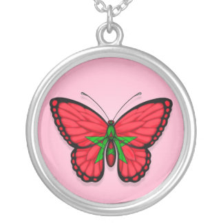 Moroccan Butterfly Flag on Pink Silver Plated Necklace