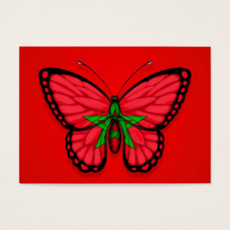 Moroccan Butterfly Flag on Red Business Card
