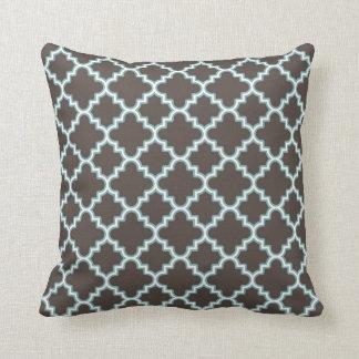 Moroccan Clover Quatrefoil Brown Blue White Throw Pillow
