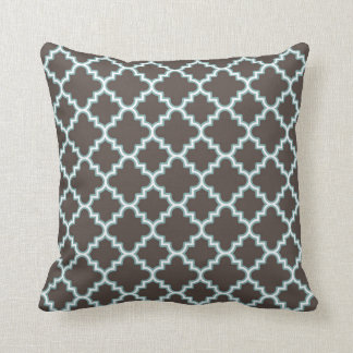 Moroccan Clover Quatrefoil Brown Blue White Throw Pillow