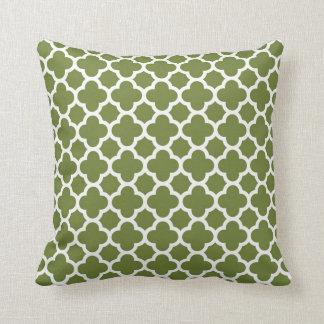 Moroccan Clover Quatrefoil in Avocado Green White Throw Pillow