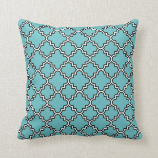 Moroccan Clover Quatrefoil Turquoise White Black Throw Pillow