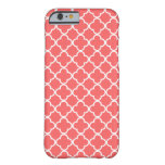 Moroccan Coral White Quatrefoil Pattern Barely There iPhone 6 Case