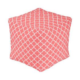 Moroccan Coral White Quatrefoil Pattern Cube Pouf