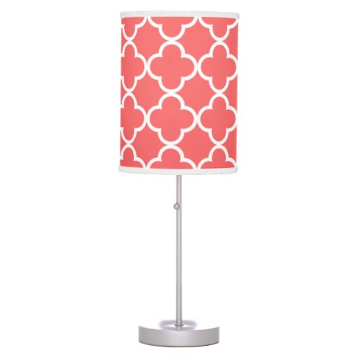 moroccan coral white quatrefoil pattern desk lamp zazzle. Black Bedroom Furniture Sets. Home Design Ideas