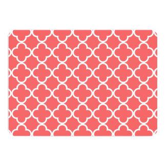 Moroccan Coral White Quatrefoil Pattern Personalized Invite