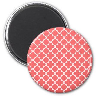 Moroccan Coral White Quatrefoil Pattern 2 Inch Round Magnet