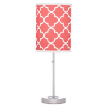 Moroccan Coral White Quatrefoil Pattern Table Lamp
