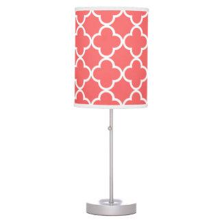 Moroccan Coral White Quatrefoil Pattern Table Lamp