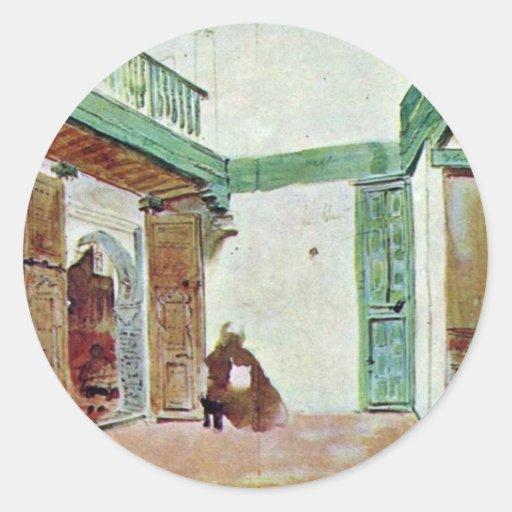 Moroccan Courtyard Classic Round Sticker
