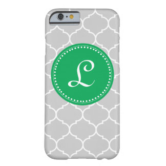Moroccan Custom Monogram in Gray and Kelly Green Barely There iPhone 6 Case