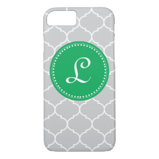 Moroccan Custom Monogram in Gray and Kelly Green iPhone 7 Case
