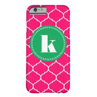 Moroccan Custom Monogram in Pink and Kelly Green Barely There iPhone 6 Case