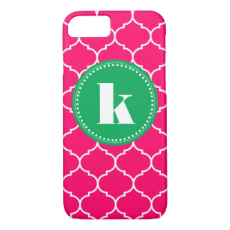 Moroccan Custom Monogram in Pink and Kelly Green iPhone 7 Case