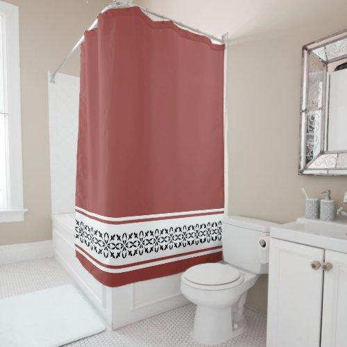Moroccan damask tan black white shower curtain