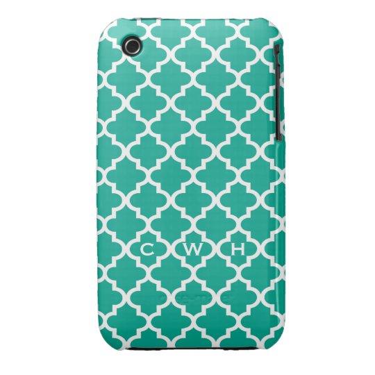 Moroccan emerald green tile design 3 monogram Case-Mate iPhone 3 case