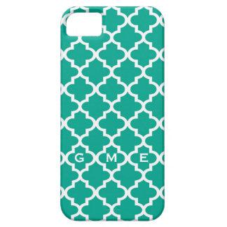 Moroccan emerald green tile design 3 monogram iPhone 5 covers