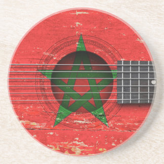 Moroccan Flag on Old Acoustic Guitar Drink Coasters