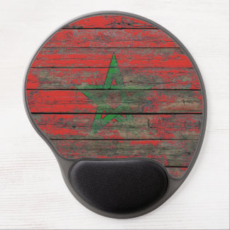 Moroccan Flag on Rough Wood Boards Effect Gel Mouse Pad