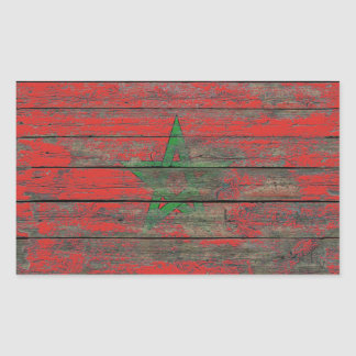 Moroccan Flag on Rough Wood Boards Effect Rectangular Sticker