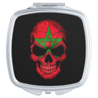 Moroccan Flag Skull on Black Compact Mirror
