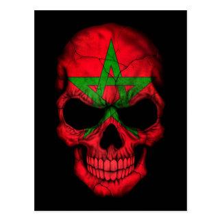 Moroccan Flag Skull on Black Postcard