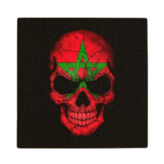 Moroccan Flag Skull on Black Wooden Coaster